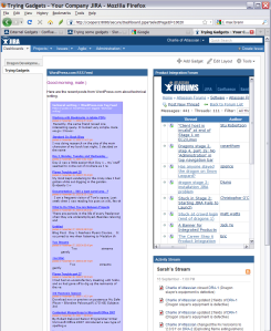 Gadgets on Confluence wiki pages - oh, and in JIRA and iGoogle