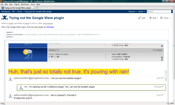 Google Wave on Confluence wiki pages