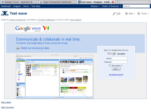 Google Wave in Confluence wiki pages