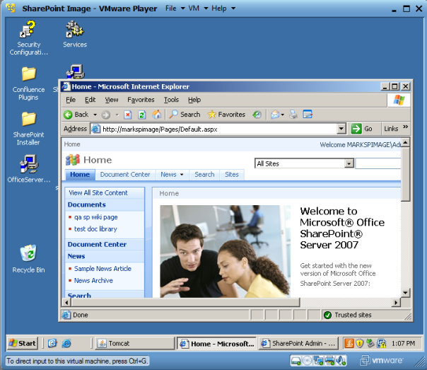 VMware Player with an IE window open: