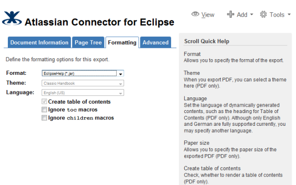 Confluence wiki to Eclipse Help the easy way