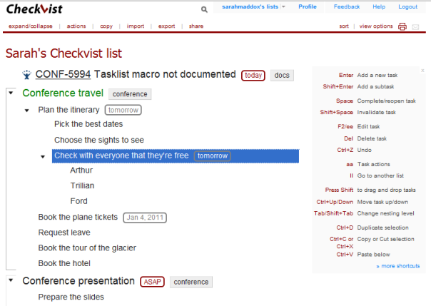 "Playing with Checkvist for handy online ""to do"" lists"
