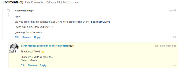 Experiences with readers' comments on the Atlassian documentation wiki