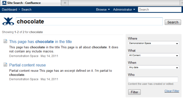 Making the include macro's content appear the Confluence search results