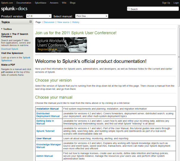 Walkthrough of Splunk documentation on wiki platform - MediaWiki