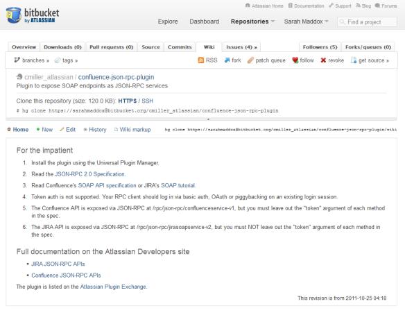 Updating documentation on a Bitbucket wiki | ffeathers