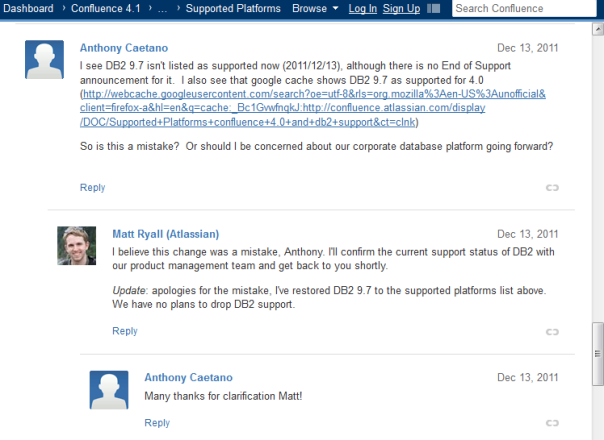 Some of the comments on the supported platforms page