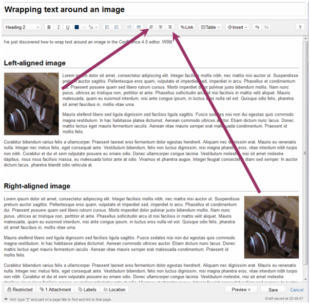 How to wrap text around an image in Confluence 4.0