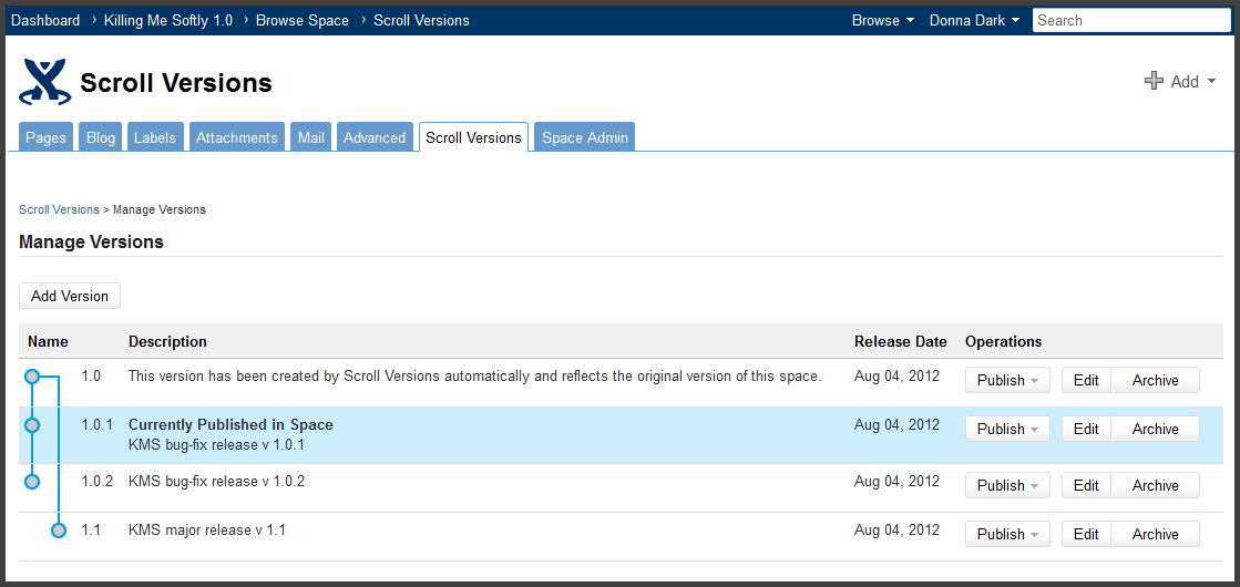 Version management gets serious with confluence scroll versions plugin