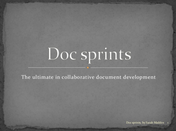 Invitation to a webinar about doc sprints tomorrow