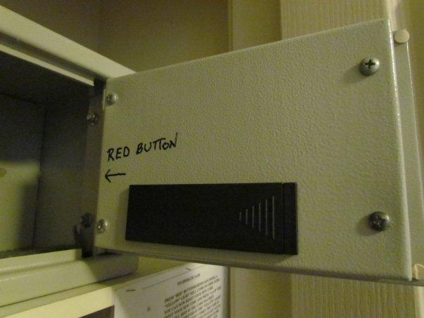 Contextual help written on safe door