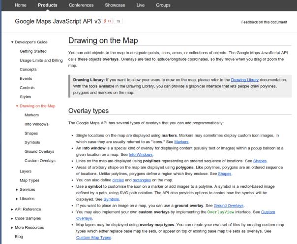 Refactoring the Google Maps JavaScript API overlays documentation