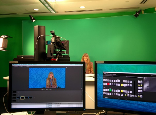 In the hot seat in the video production studio