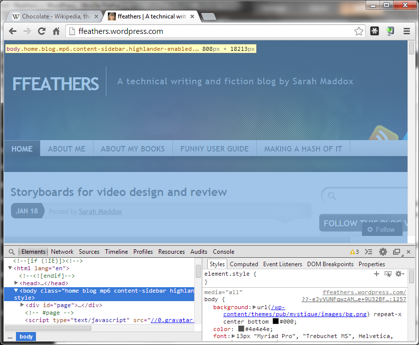 Chrome developer tools | ffeathers