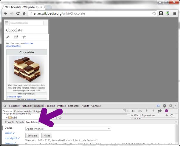 Emulator in Chrome developers' tools