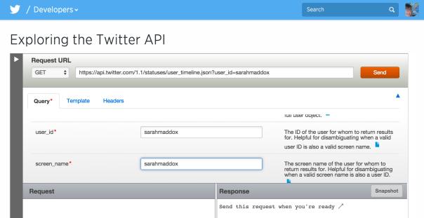 TwitterAPI explorer