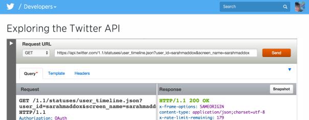 Twitter API explorer