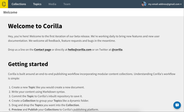 Corilla for technical writers