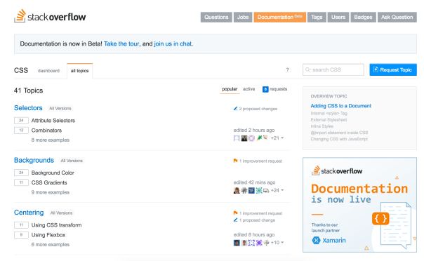 Stack Overflow documentation - list of topics
